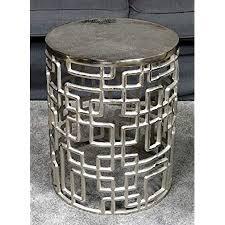 couchtisch modern wohnzimmertisch sofatisch beistelltisch tisch aus metall eisen silber rund luxus 48 cm
