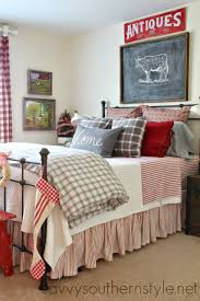 Guest Room, Farmhouse Style, Red, Gray, Flannel, Buffalo Checks ... Bed Skirts 66726 New Pottery Barn Kids Silver Dot Tulle Twin Pb Essential Skirt Ca Frames Wallpaper High Resolution Ikea Headboard With Storage Pottery Barn Kids Sparkle Twin New Original 129 Bedroom Bedskirt 16 Inch Drop Elizabeth Pink Bedrooms Using Fabulous For Charming Decoration Bedding Design Ideas Hudson Set Image On Diy Dropcloth Cotton Like Barns 20450 Off White Ivory Linen Add A Touch Of Color To Dorm Room Hq Home Decor Nwt Eyelet Cuff Twin Green