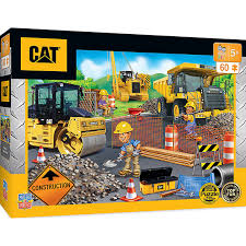 100 Construction Trucks Caterpillar Parking Lot 60 Piece Kids Puzzle