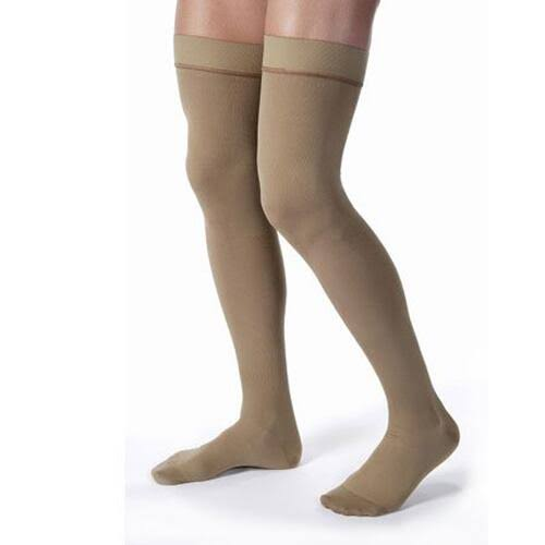 Jobst Men's Closed Toe Thigh High Support Sock - Khaki, Small, 20-30mmHg