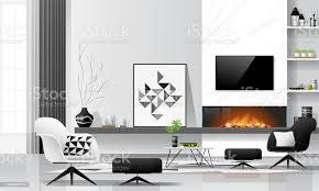 moderne wohnzimmer innenhintergrund mit kamin und möbel in schwarz und weiß thema vektor illustration stock vektor und mehr bilder architektur