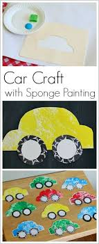 Paper Car Craft for Kids Using Sponge Painting