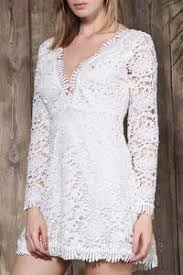 Elegant Cut Out Plunging Neck Long Sleeve Solid Color Lace Womens Dress