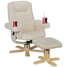 finebuy relax duo fernsehsessel mit getränkehalter tv sessel drehbar mit hocker relaxsessel beige aus kunstleder mit armlehnen stuhl mit