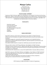 Resume 911 Dispatcher 1 Field Technician Templates Try Them Now Of