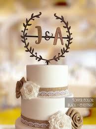 Rustic Cake Topper Initial Monogram Gold Letter Wedding