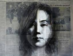 South Korean Artist Shin Young An Paints Images Of Womens Faces On Daily Newspapers Using Current Articles As Her Foundation Layers Paint Form The