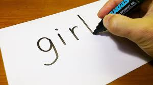 Very Easy How To Turn Words GIRL Into A Cartoon
