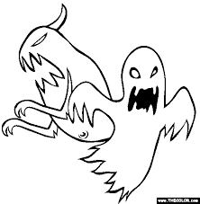 Halloween Ghosts Online Coloring Page