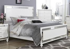 GLITZY 4 PC WHITE MIRRORED QUEEN BED N S DRESSER & MIRROR BEDROOM