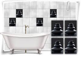 fliesen aufkleber spa wellness steine stein schalle schwarz granit bad wc deko