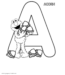 Elmo With Acorns And The Letter A Coloring Page