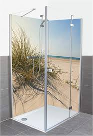artland duschrückwand eck mit motiv fliesenersatz alu rückwand dusche duschwand bad 80x200 cm küste meer strand nordsee sonne gras s9zi