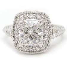 200ctw Cushion Cut Antique Style Diamond Engagement Ring C8