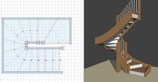 plans d escalier bois en 2d et modèles 3d