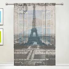 Amazoncom Aideess Paris Eiffel Tower Sheer Window Curtain