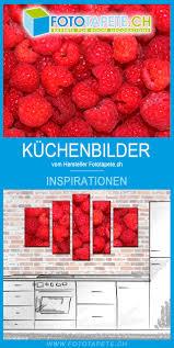 küchen wandbilder himbeeren als 5 teiliges leinwandbild