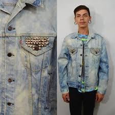 Levis Denim Jacket Acid Wash Studded Mens 42 Med Large 90s Vintage Distressed Unisex Womens