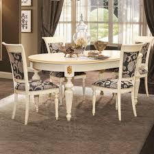 cremona landhausstil esstischgruppe mit tisch und 4 stühlen creme mit gold