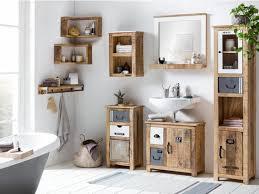 woodkings bad set pune badezimmer möbel holz mango rustikal unterschrank hängeschrank spiegel mit ablage hochschrank kommode