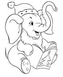 Christmas Coloring Pages Elephant Animal