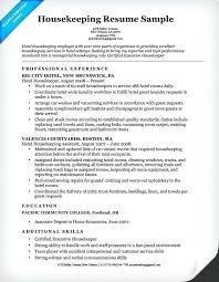 Resume Examples Housekeeping Housekeeper Sample