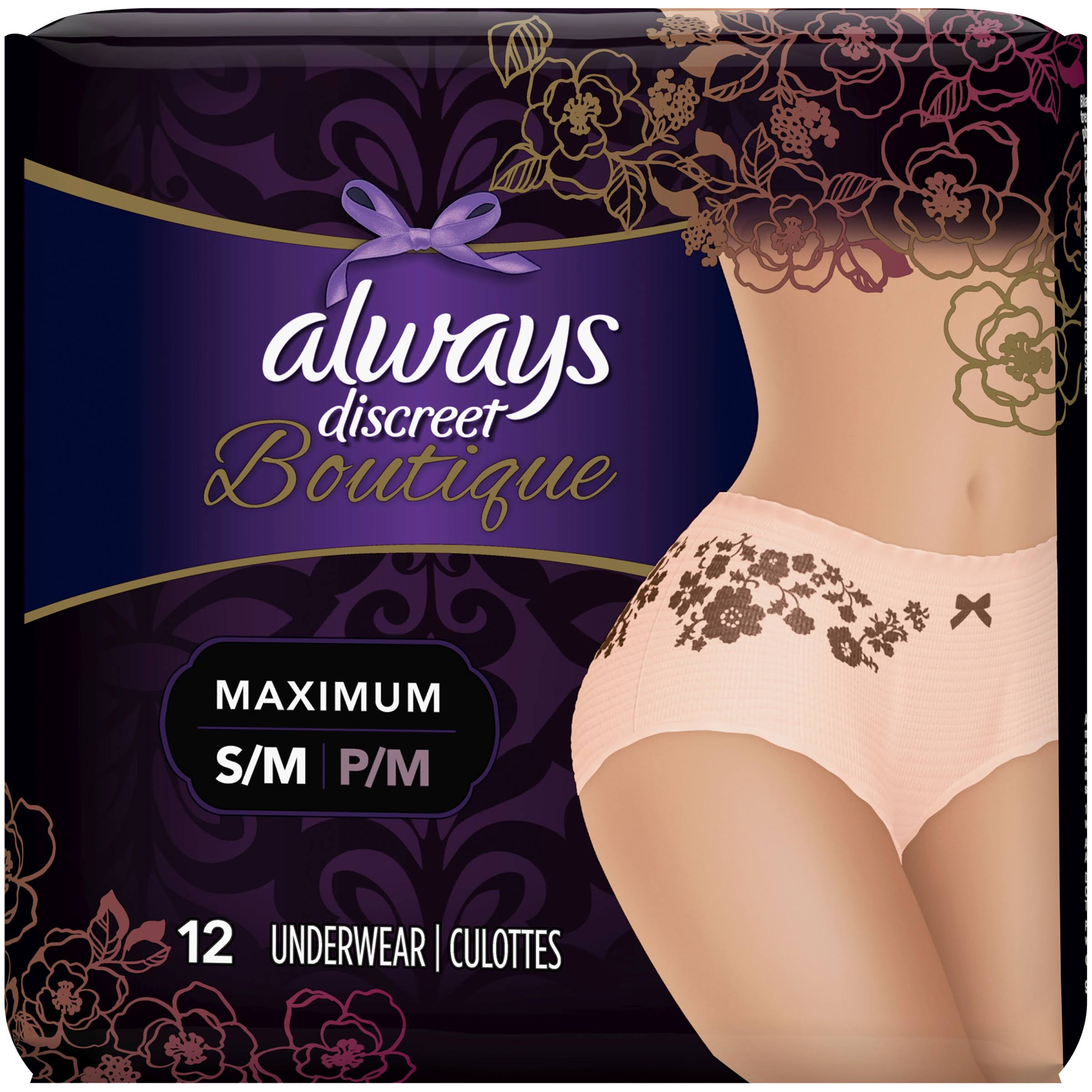 Always Discreet Boutique Maximum Protection Underwear - Small/Medium, 12pcs