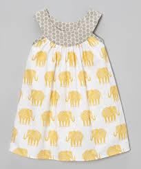 yellow u0026 gray elephant yoke peasant dress toddler u0026 girls grey