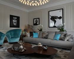 Adorable Turquoise And Grey Living Room Houzz