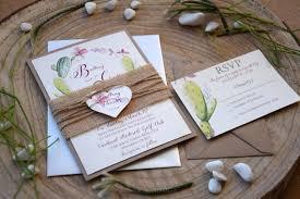 Rustic Garden Wedding Invitation Floral Cactus
