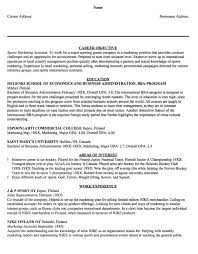 Sample Resume Sports Marketing Assistant
