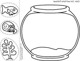Goldfish Bowl Coloring Page Fish Pages Inside Printable
