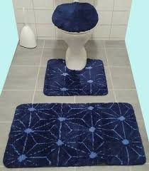 3tlg bad garnitur für stand wc orange grün badematte rund