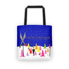 Retro Christmas Tree Farm Tote Bag Strange Little Onion