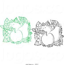 Royalty Free Clip Art Vector Green and Black and White Apple Pear and Pomegranate Squares Logo
