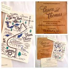 Hand Drawn Map And Wooden Wedding Invitation Rustic Outdoor Forest