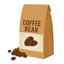 Coffee Bean In Brown Paper Bag Packaging Vector Art Illustration