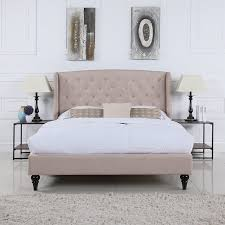 Roma Tufted Wingback Headboard Dimensions by Amazon Com Classic Dark Beige Box Tufted Shelter Bed Frame Queen