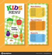 Carta Restaurante Para Niños Diseño De Menú De Los Niños De 2