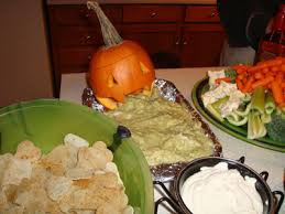 Pumpkin Throwing Up Guacamole With Cheese Dip by Themed Recipe Hankerin U0027 For Horror
