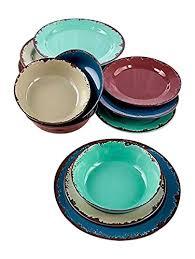 12 Pc Rustic Melamine Dinnerware Set