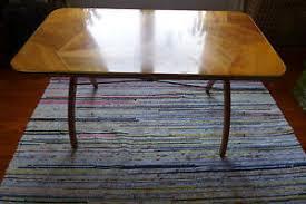 details zu 60er jahre wohnzimmer tisch furniert in unregelmässiger kachel optik