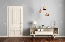 modernes interieur wohnzimmer mit tür und sideboard 3d rendering
