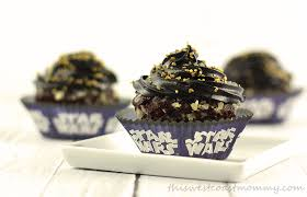 These Star Wars inspired birthday cupcakes are made with gluten free chocolate cake mix