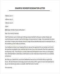 Membership Resignation Letters Template 8 Free Word PDF Format