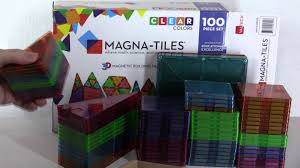 Picasso Tiles Magnetic Building Blocks by Magna Tiles Clear Colors 100 Piece Set Unboxing Review Youtube