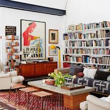 Stylish Rustic Living Room Design With Bookshelves