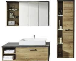 badmöbel set 4 teilig bay 186 cm mit waschbecken hochschrank und spiegelschrank ohne beleuchtung eiche riviera