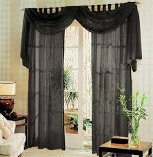 voile komplett gardinen set 3tlg schwarz 60999