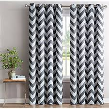 Grey And White Chevron Curtains by Amazon Com Hlc Me Chevron Print Thermal Insulated Blackout Window